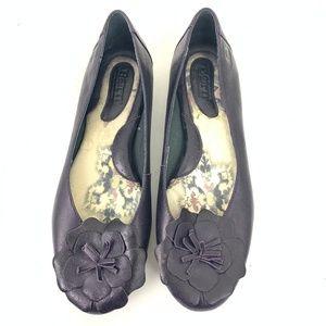 Born Dark Purple Slip On Flower Ballet Flats 8.5
